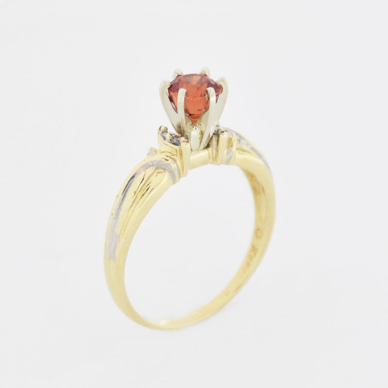 14k Yellow Gold Estate Swirl Orange Sapphire & Diamond Ring Size 10.75