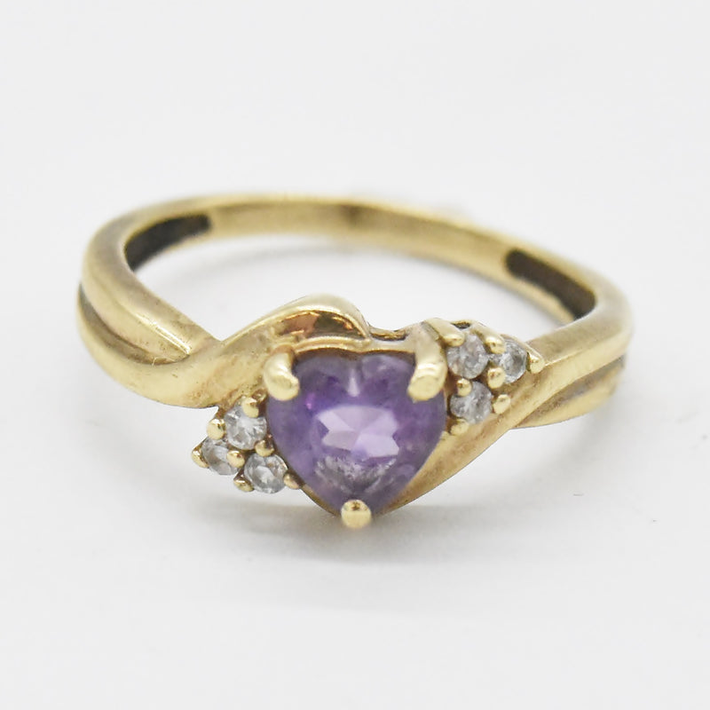 10k Yellow Gold Estate Swirl Amethyst & CZ Ring Size 6.5