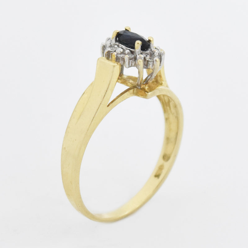 14k Yellow Gold Estate Sapphire & Diamond Ring Size 7