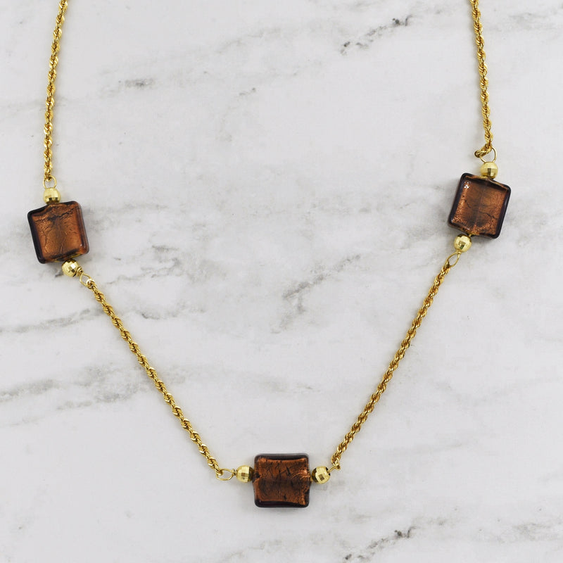 14k Yellow Gold Copper/Gold Colored Gemstone Square Link Necklace