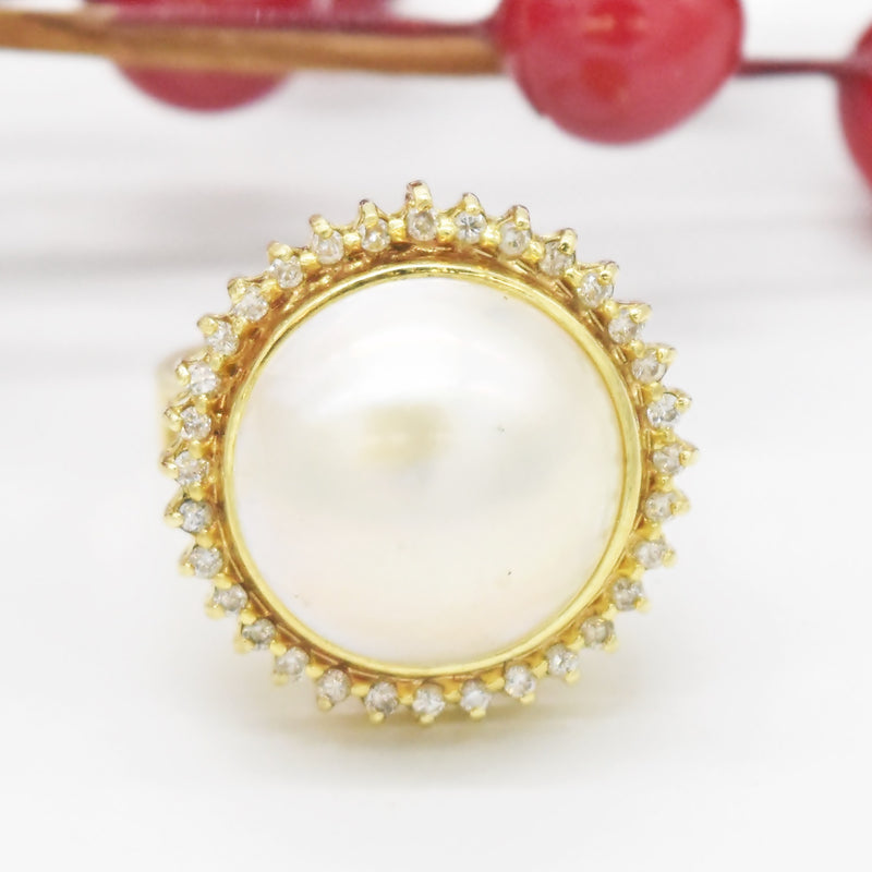 14k Yellow Gold Estate Mabe Pearl & Diamond Statement Ring Size 7