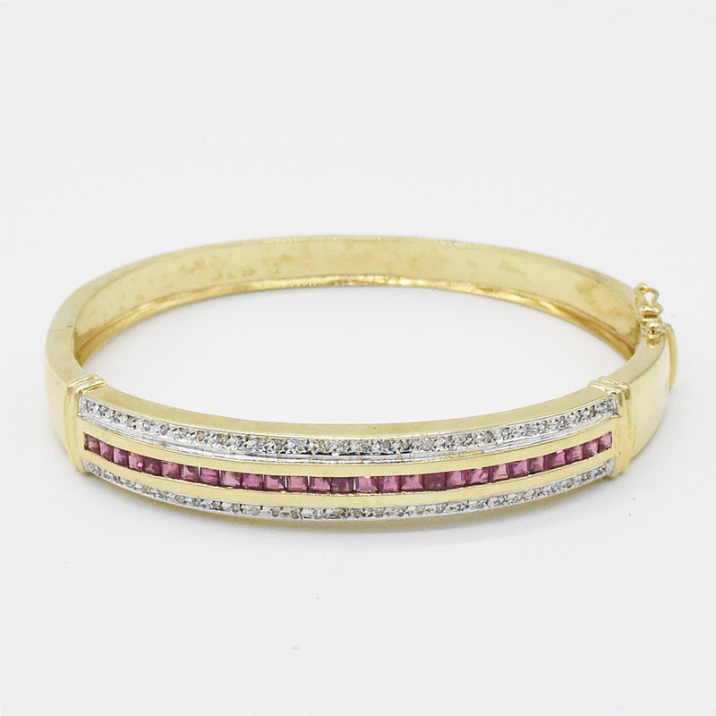 14k Yellow Gold Estate KTL Ruby & Diamond Hinged Bangle Bracelet