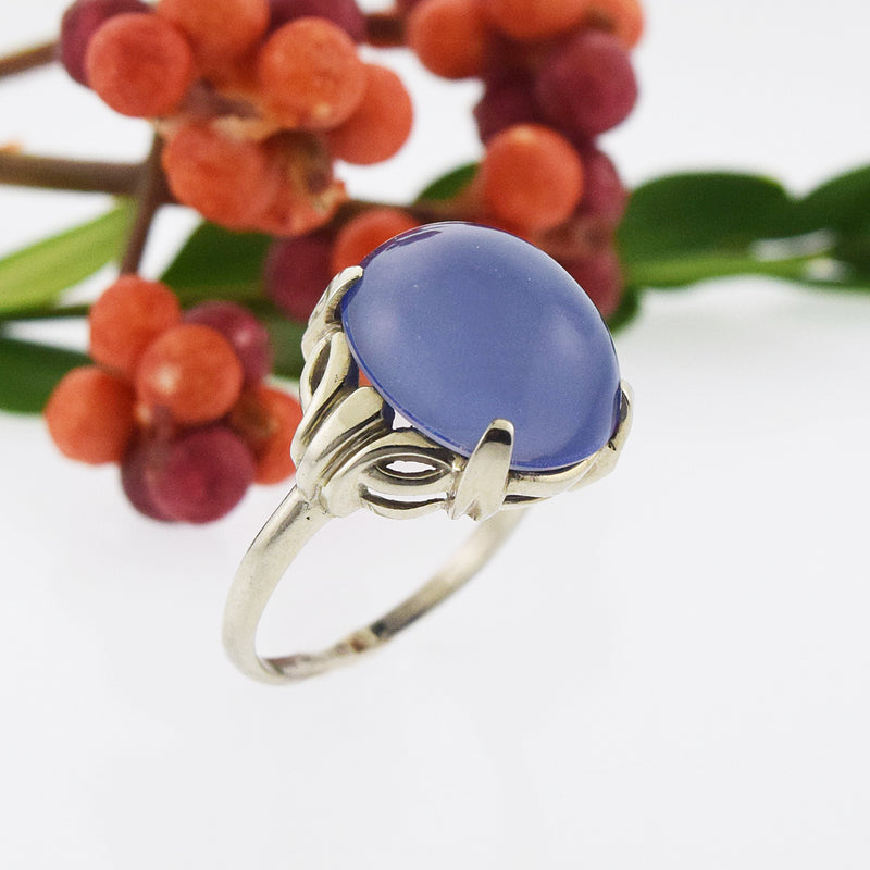 14k White Gold Vintage Cabochon Moonstone Ring Size 9