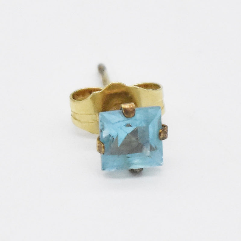 14k Yellow Gold Estate Light Blue Topaz Post Single Stud Earring