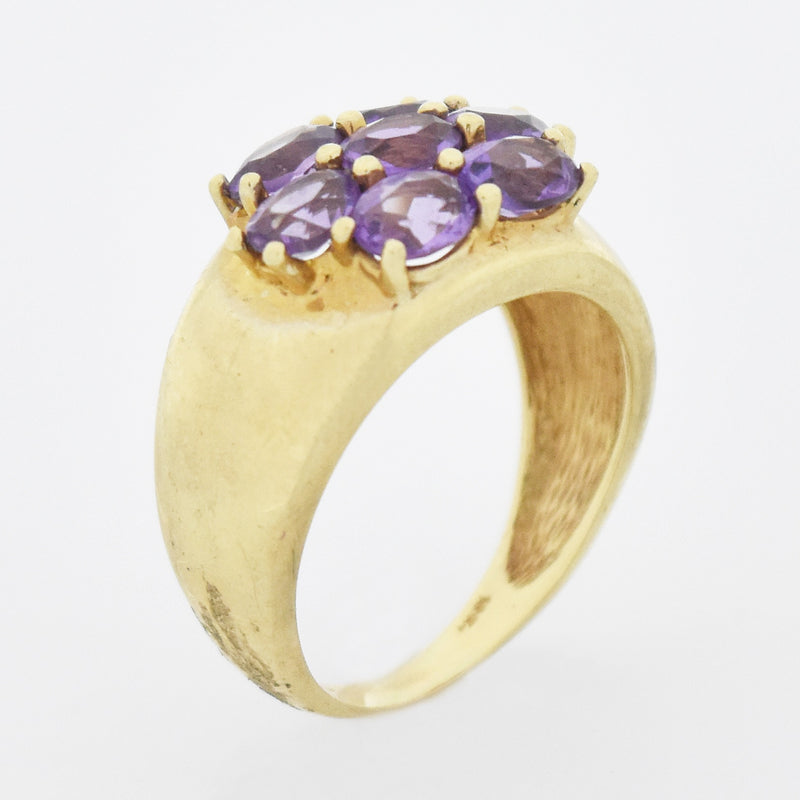10k Yellow Gold Estate 7 Stone Amethyst Cocktail Ring Size 7