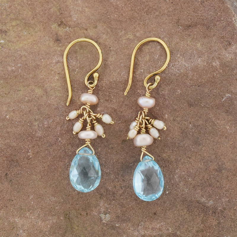 14k Yellow Gold Tear Drop Blue Topaz & Pearl Drop/Dangle Earrings