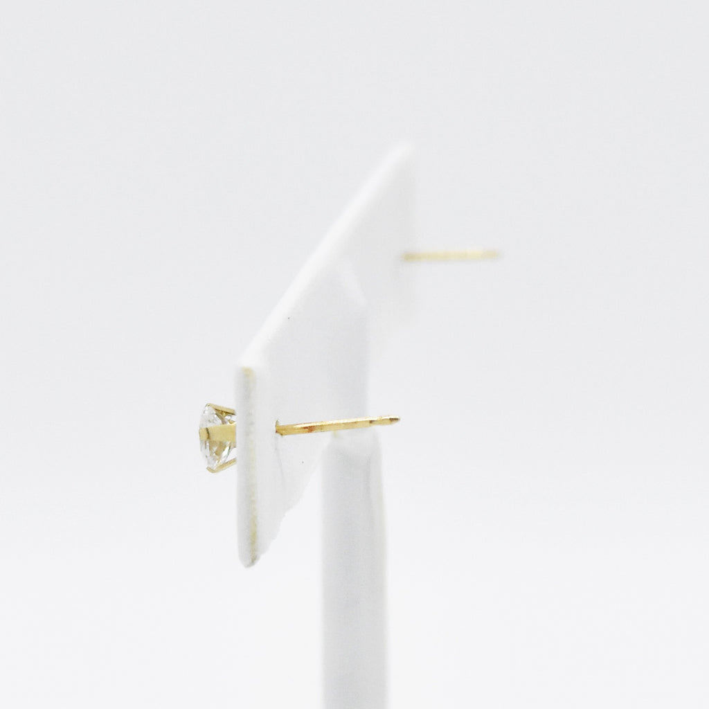 14k Yellow Gold Estate CZ Solitaire Post Earrings