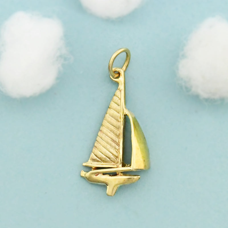 14k Yellow Gold Estate Textured Sailboat/Boat Pendant
