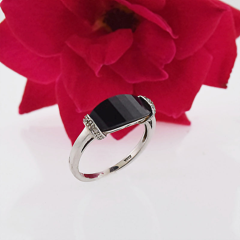 10k White Gold Estate Black Onyx & Diamond Ring Size 6.75