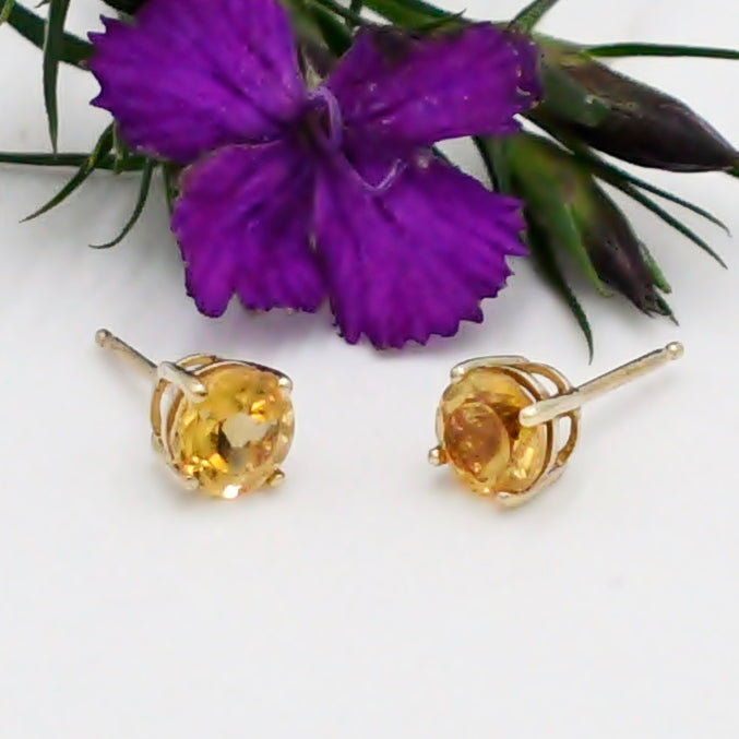 14k Yellow Gold Estate Citrine Gemstone Post Earrings