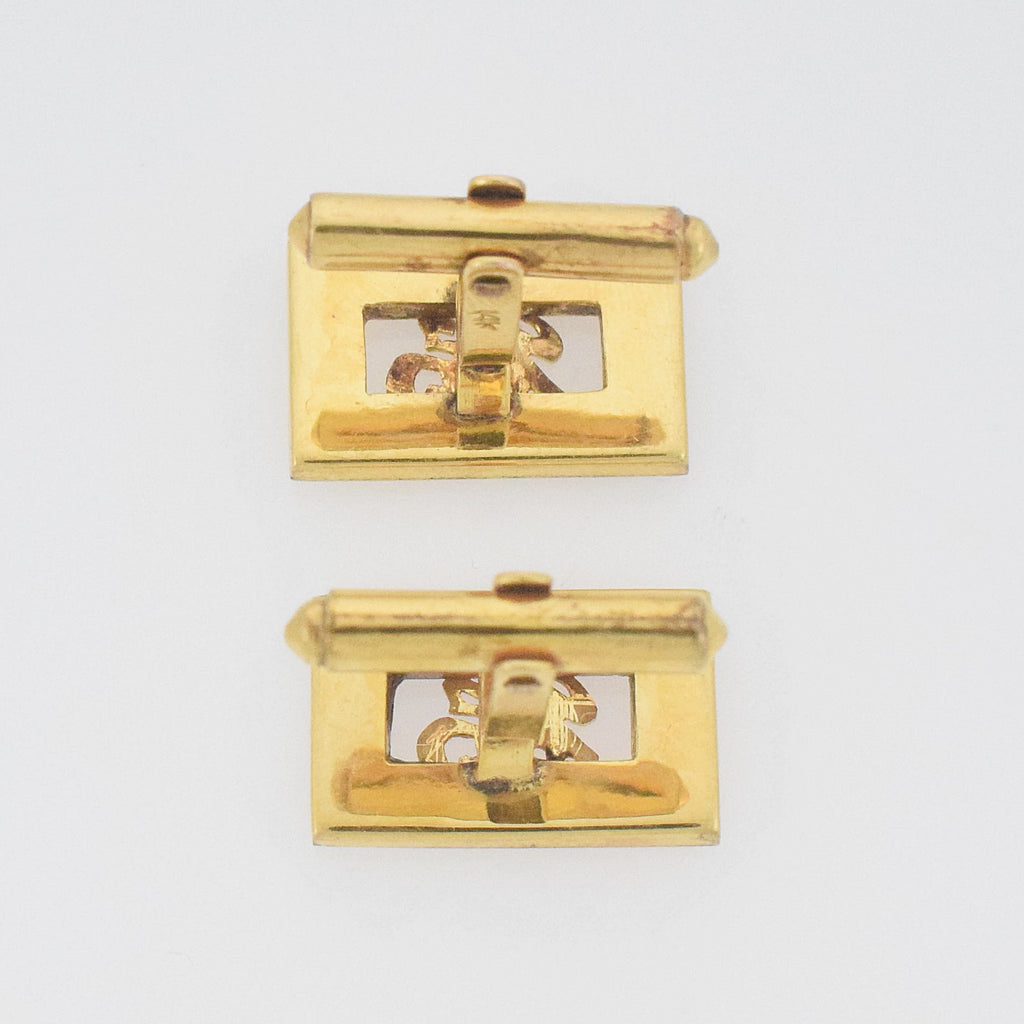 14k YG Vntage Chinese Symbols/Calligraphy Happiness/Blessing Cufflinks