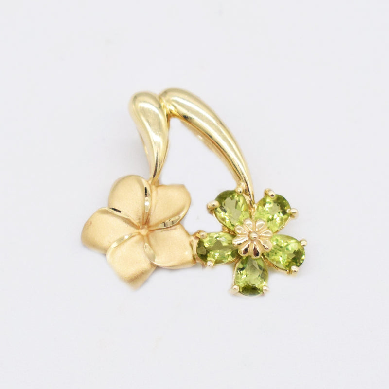 14k Yellow Gold Estate Textured Peridot Double Flower Pendant