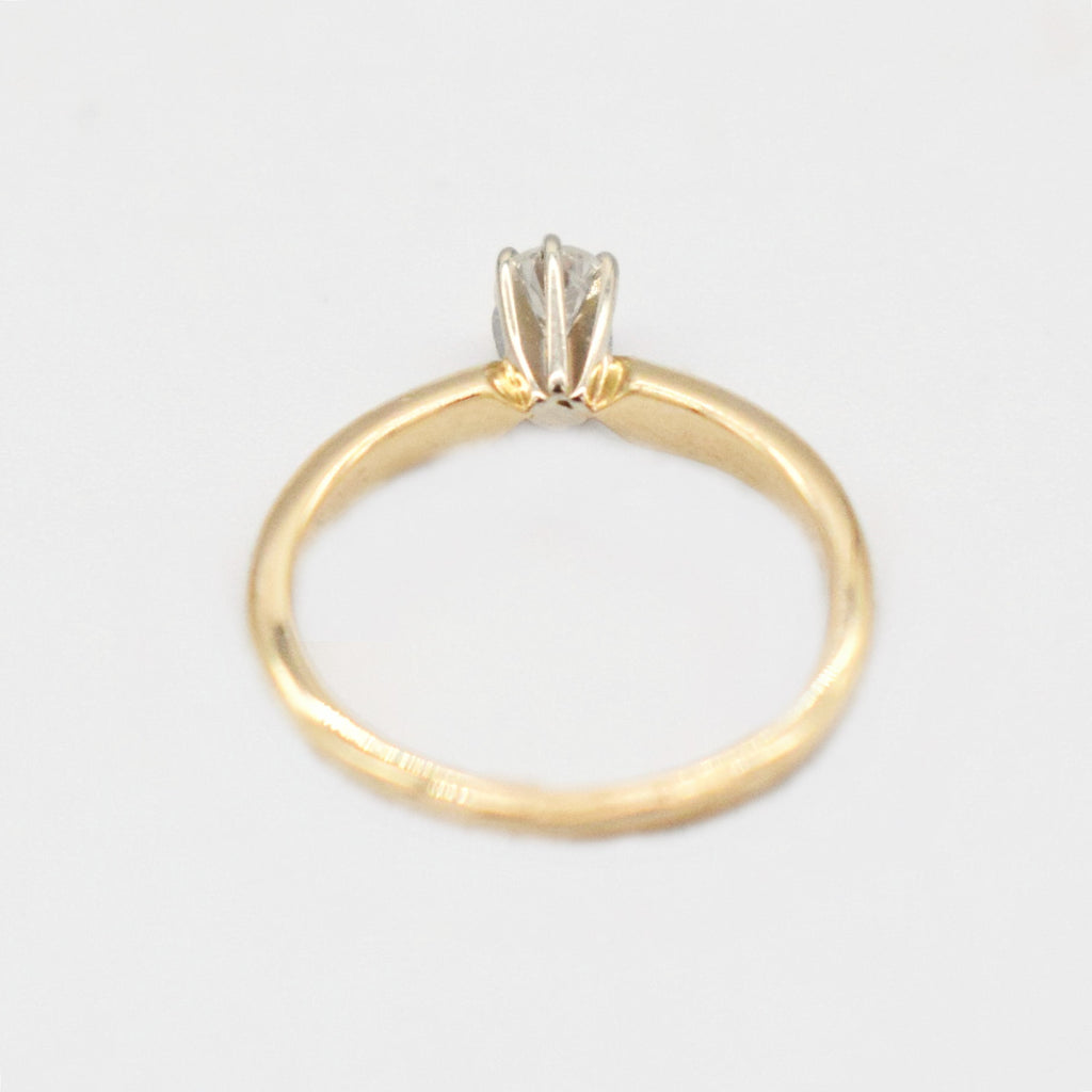 14k Yellow Gold Estate Diamond 0.17 tcw Engagement Ring Size 3