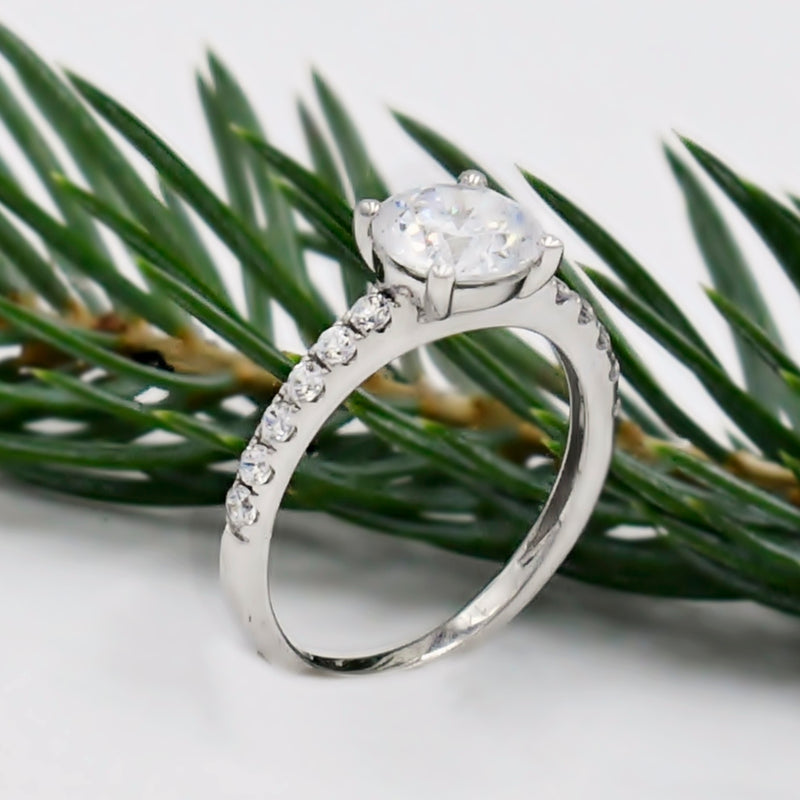 14k White Gold Estate CZ Engagement Ring Size 6