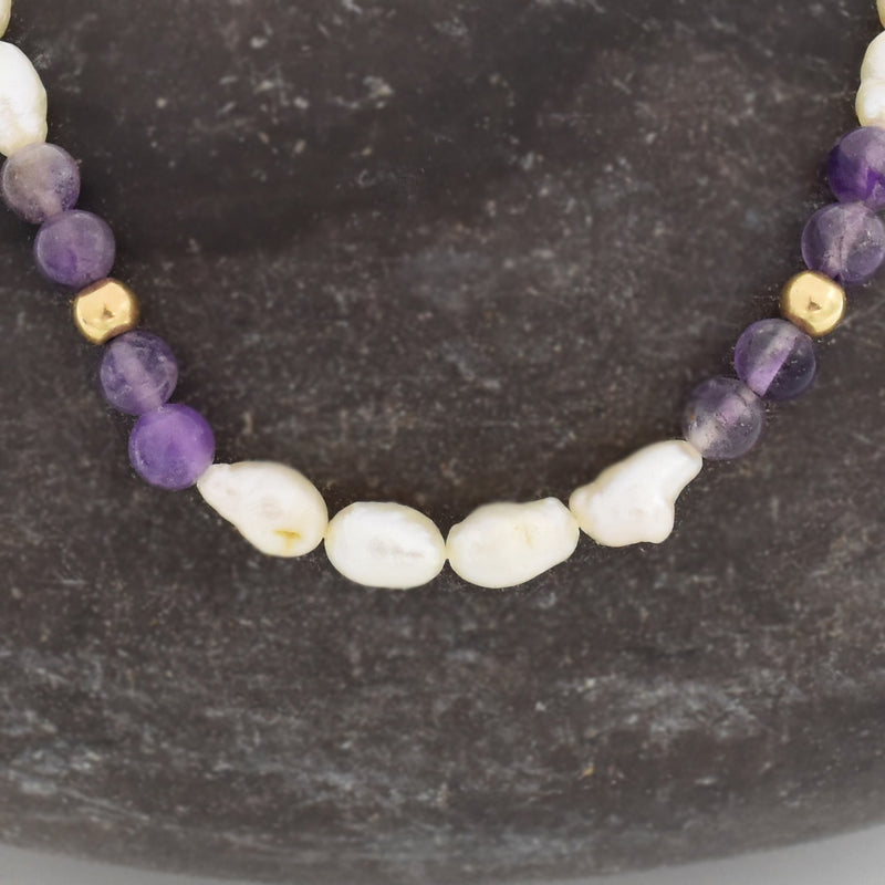 "14k Yellow Gold Clasp & Beads Pearl Amethyst 17.25"" Necklace"