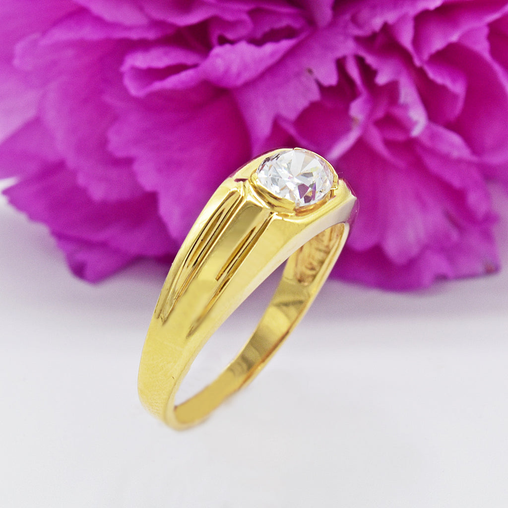14k Yellow Gold Estate Large Ribbed CZ Solitaire Ring Size 12