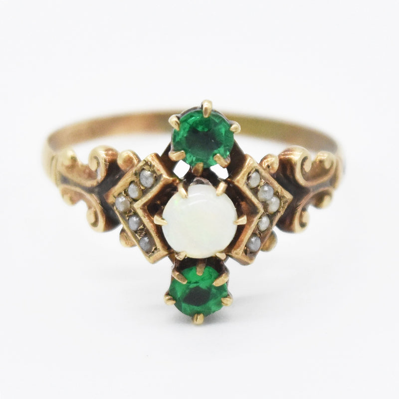 10k Yellow Gold Antique Opal & Green Gemstone Pearl Ring Size 7