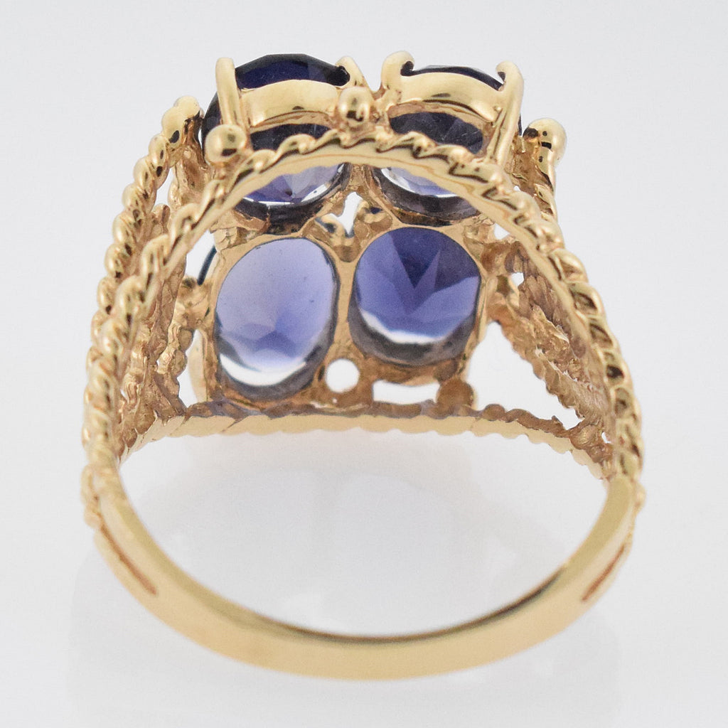 14k YG Open Work 4 Stone Ring Size 8.25