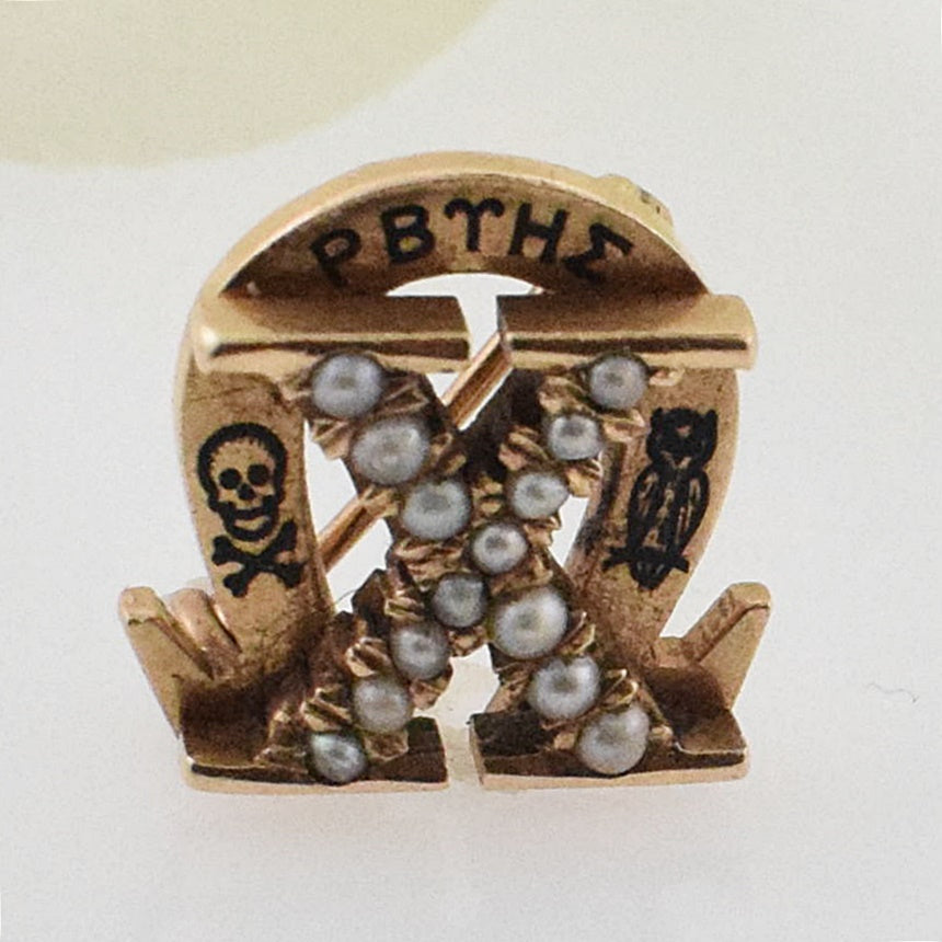 14k Yellow Gold Antique Enamel Pearl Frat Pin