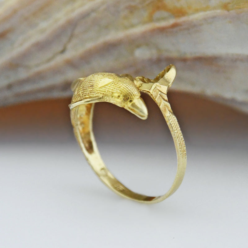 10k Yellow Gold Estate Textured Diamond Cut Dolphin Ring Size 7.25