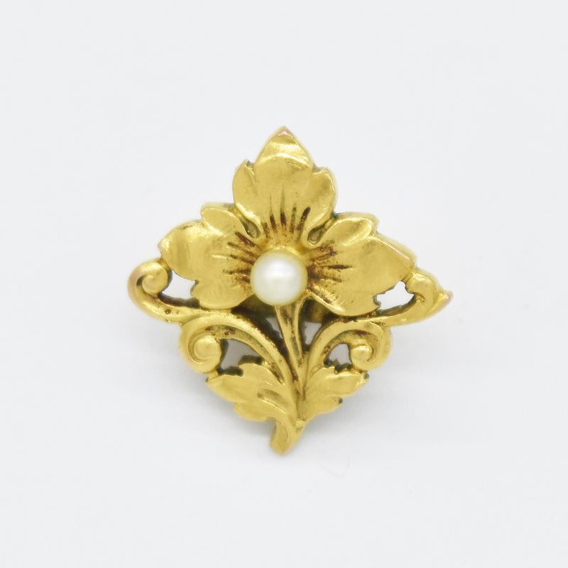 14k Yellow Gold Antique Open Work Flower Pearl Slide