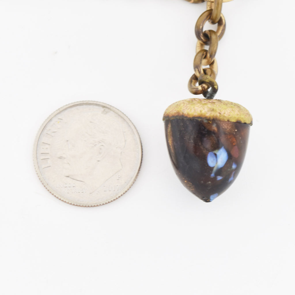 "Gold Filled Antique Murano Glass Acorn Fob 14"" Watch Chain"