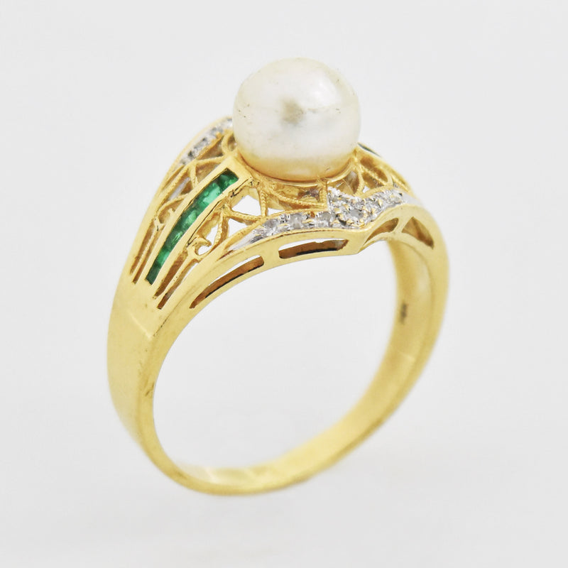 14k Yellow Gold Estate Diamond & Emerald Pearl Ring Size 9.25