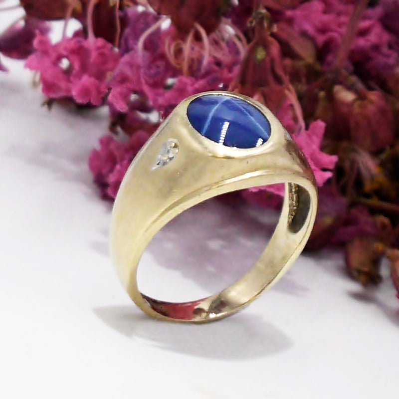 10k Yellow Gold Antique Star Sapphire & Diamond Ring Size 8.75