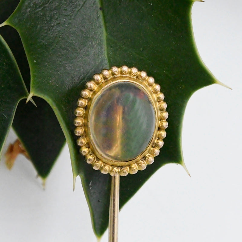 14k Yellow Gold Vintage Clear Mexican Fire Opal Gemstone Stick Pin