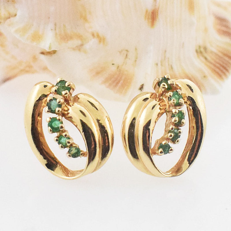 14k YG Open Swirl Emerald Post Earrings