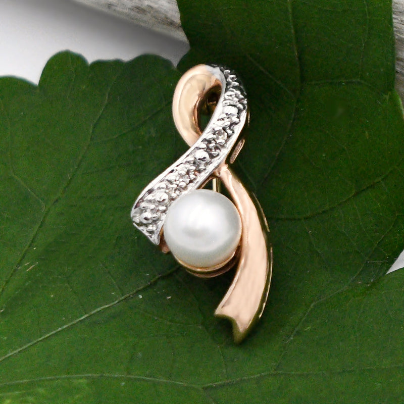 14k Rose Gold Estate Diamond Pearl Breast Cancer Pin