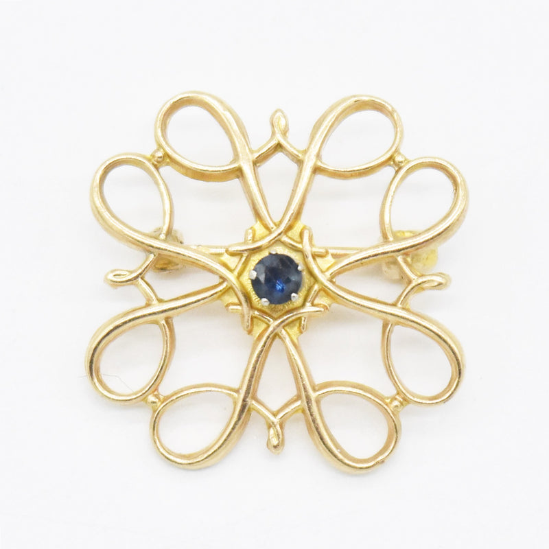 10k Yellow Gold Antique Open Work Sapphire Pin/Brooch