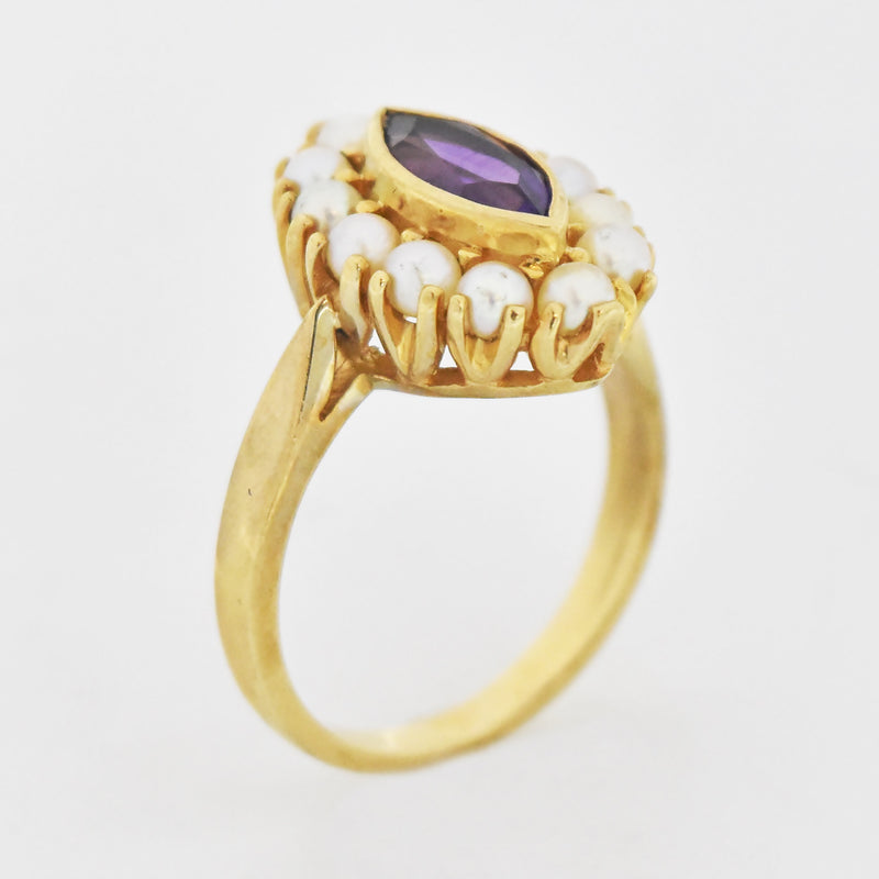 10k Yellow Gold Estate Amethyst & Pearl Cocktail Ring Size 7.25