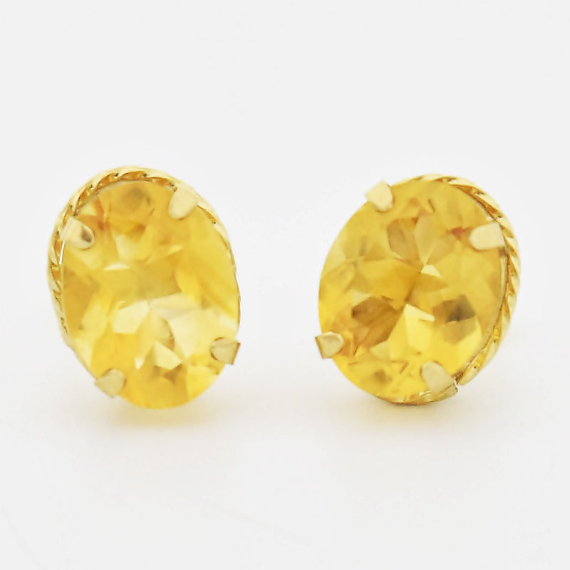 10k Yellow Gold Estate Oval Citrine Post Earrings