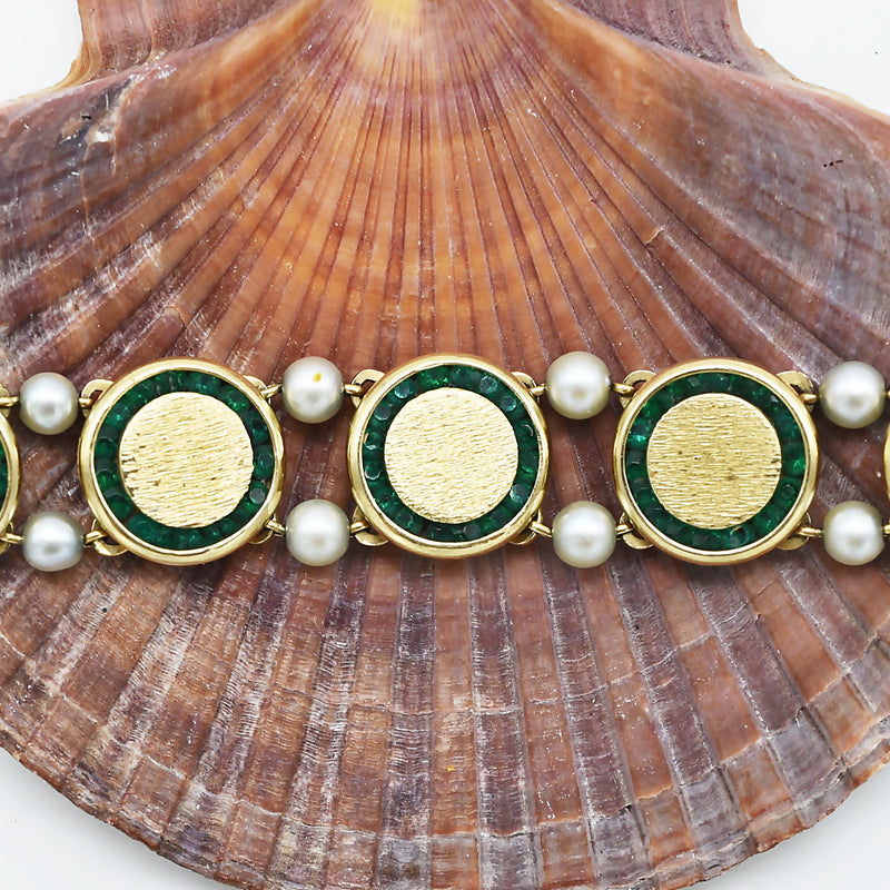 "14k Yellow Gold 7"" Textured Lucien Piccard Emerald/ Pearl Bracelet"