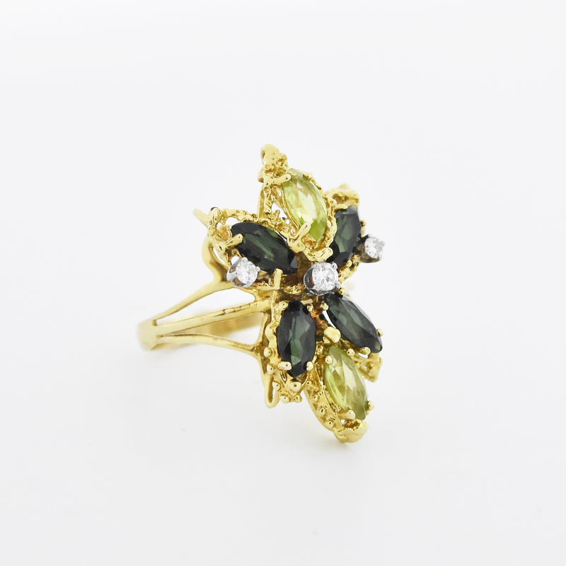 14k YG Multi-Colored Gemstone & Diamond Flower Ring Size 12.5