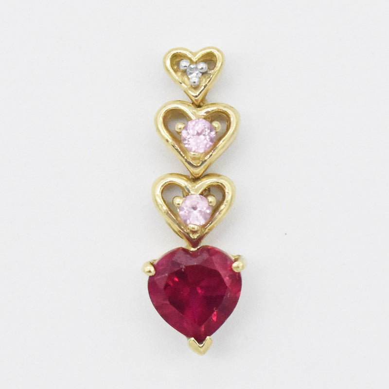 10k Yellow Gold Estate Ruby, Amethyst & Diamond Drop Pendant