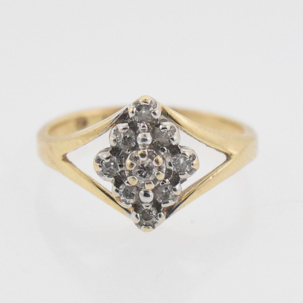 14k YG Open Diamond 0.09 tcw Cluster Ring Size 3.25