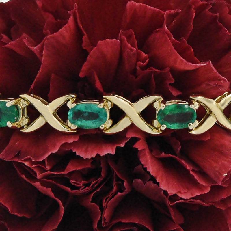 "14k Yellow Gold Estate 7 1/4"" Emerald X Link Bracelet"