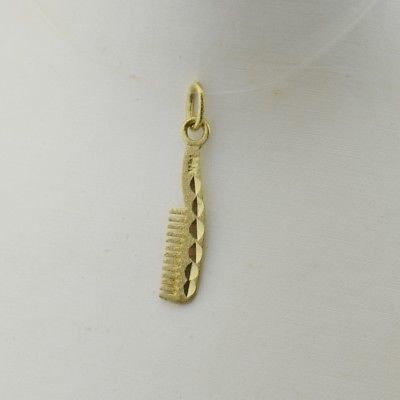 14k Yellow Gold Estate Diamond Cut Comb Charm/Pendant