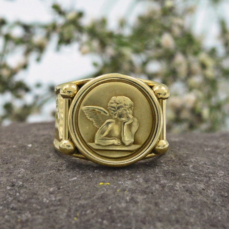 14k Yellow Gold Vintage Carved Cherub Circle Ring Size 8