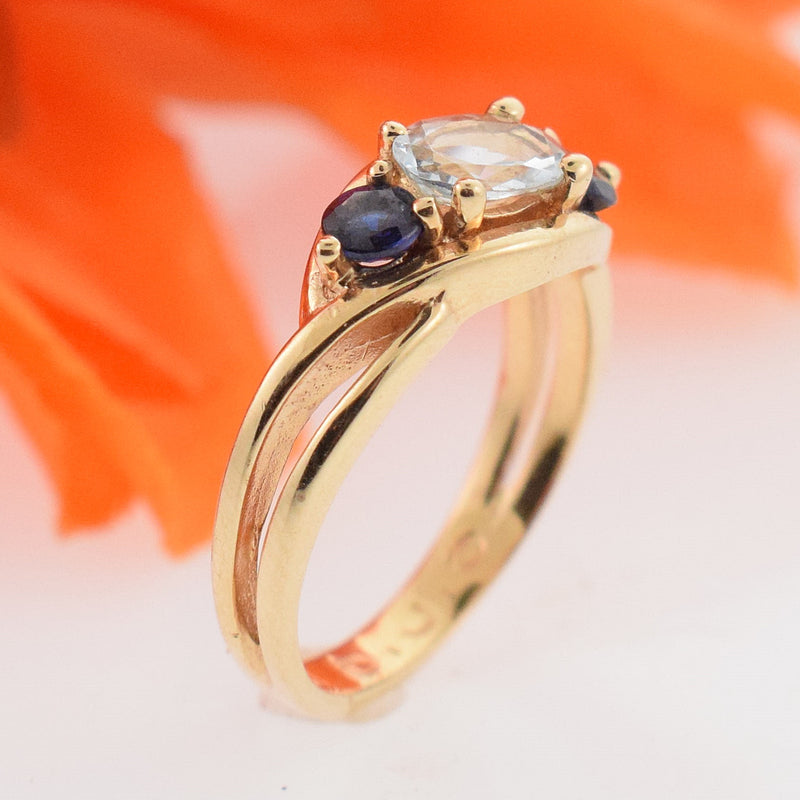 14k Yellow Gold Estate Open Band Aquamarine & Sapphire Ring Size 4