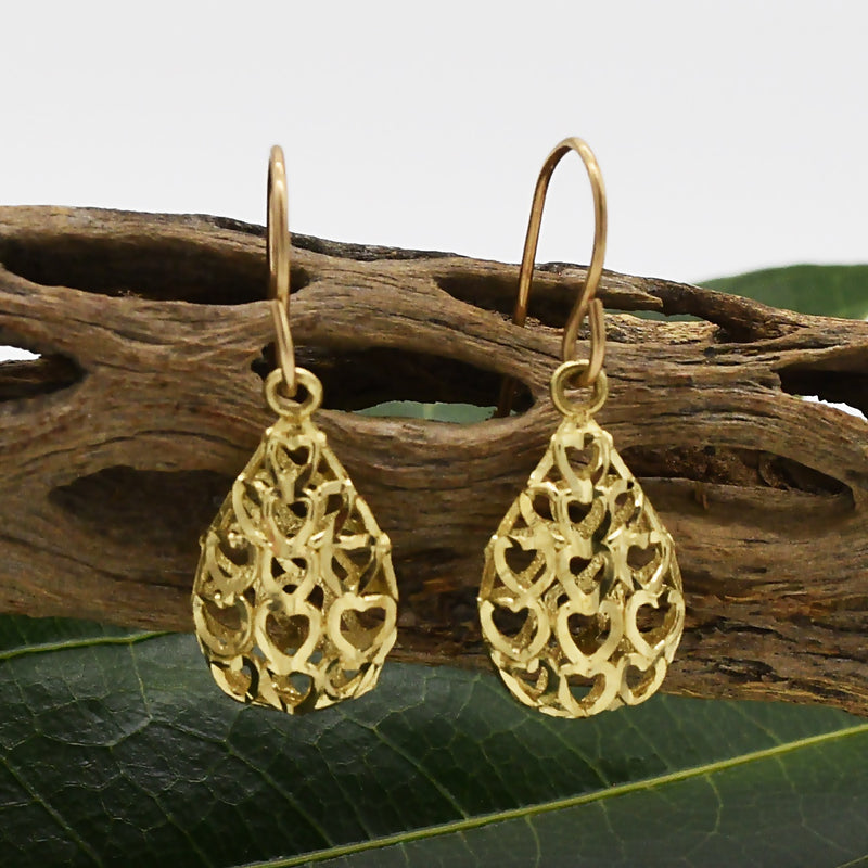 10k Yellow Gold Diamond Cut Open Teardrop Dangle/Drop Earrings