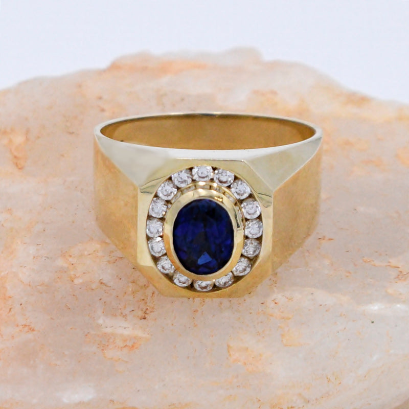 10k Yellow Gold Estate Sapphire & CZ Gemstone Ring Size 12