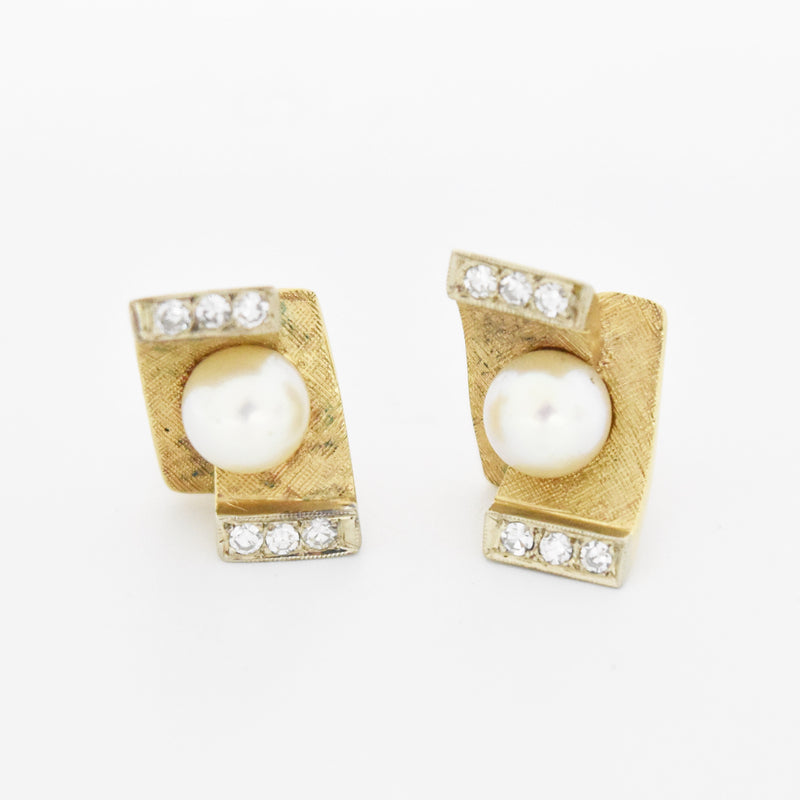 14k Yellow Gold Mid Century Modern Pearl & Diamond Post Earrings