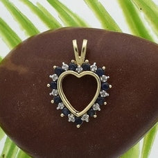 10k Yellow Gold Estate Sapphire & Diamond Heart Pendant