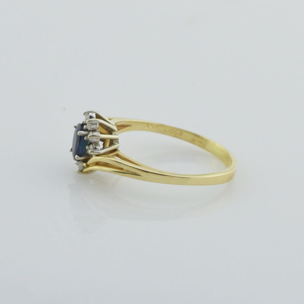 14k Yellow Gold Estate Dark Blue Topaz & Diamond Ring Size 9.5