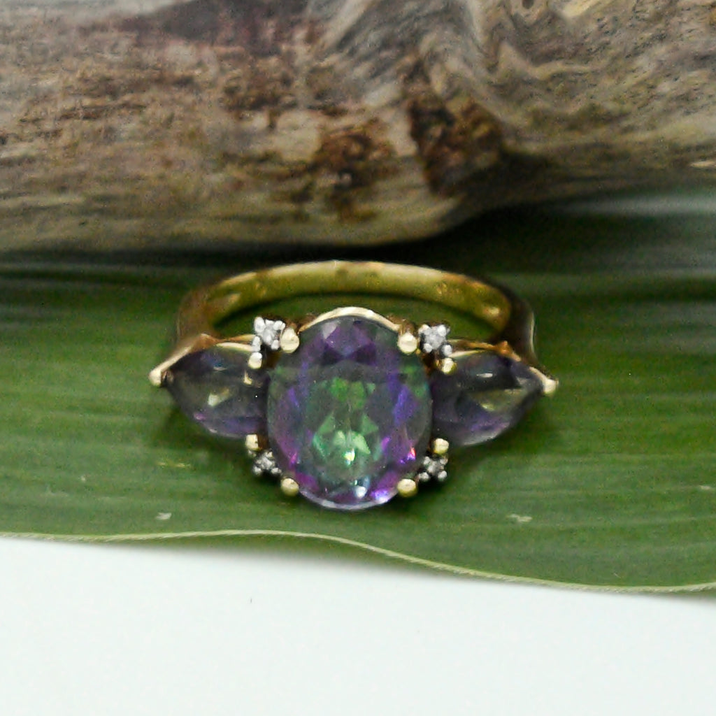 14k Yellow Gold Estate 3/Three Stone Mystic Topaz & Diamond Ring Sz 7