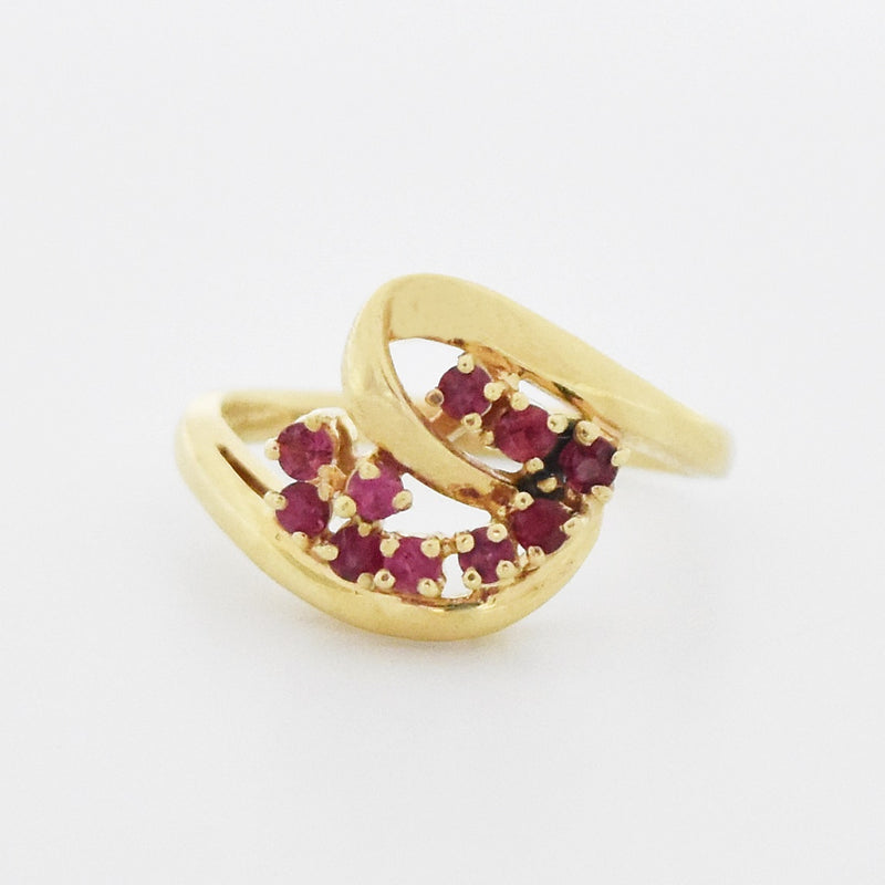 14k Yellow Gold Estate Ruby Swirl Ring Size 6