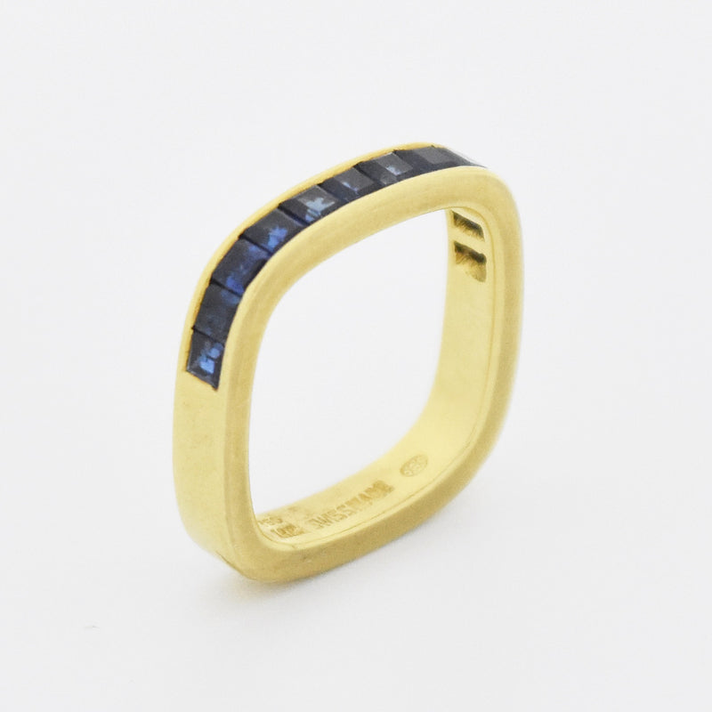 18k Yellow Gold Estate Square Sapphire Gemstone Band/Ring Size 3.5